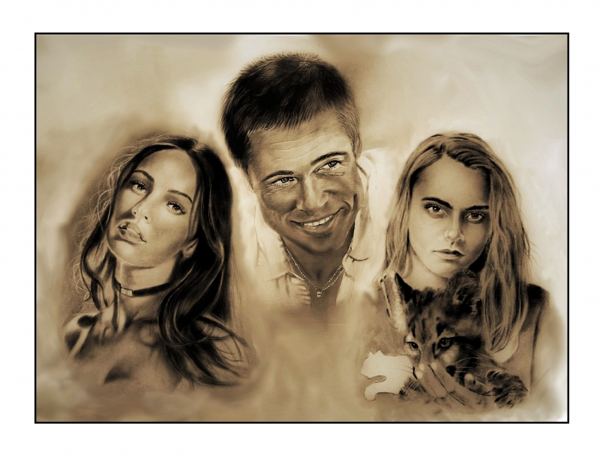Brad Pitt, Megan Fox, Cara Delevingne by burdge12